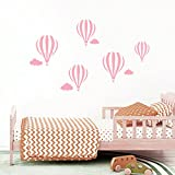 Decowall DWG-602N_PI Heißluftballons Grafik Wandtattoo Wandsticker Wandaufkleber Wanddeko für Wohnzimmer Schlafzimmer Kinderzimmer (Rosa)
