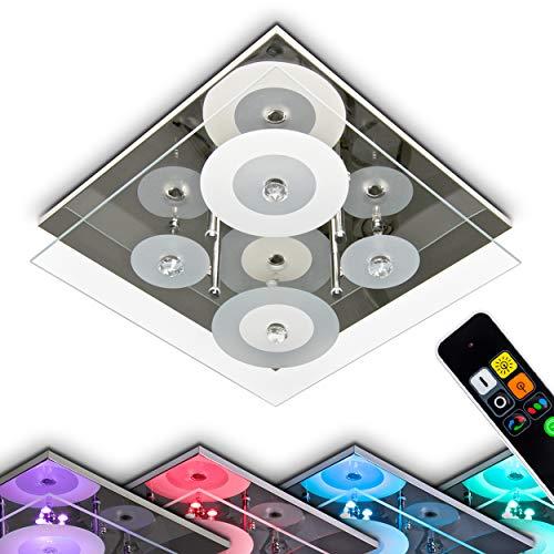 LED Deckenleuchte Everlight, eckige Deckenlampe in Chrom aus Glas, inkl. Farbwechsler & Fernbedienung, 4 x G4 je 35 Watt, 6 x LED 0,18 Watt, die LEDs können beliebig zugeschalten werden