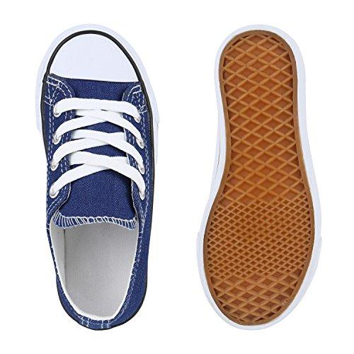 Kinder Sportschuhe Sneakers Turnschuhe Schnürschuhe Denim Blau