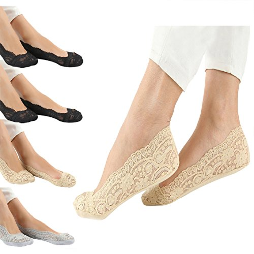 Women PCS Lace Liner Ankle Socks Invisible Nonslip No Show Socks
