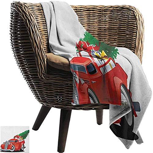 Ducan Lincoln Blanket Flanell Fleece Decke Weihnachten,American Truck Mit Großen Weihnachtsbaum Und Geschenkboxen Pickup Retro Fahrzeug Super Soft Faux Fur Plüschdecke,127x102 cm