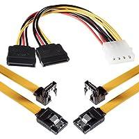 Poppstar Cavo 2X SATA 3 da 0,5 m con 1X Connettore a Fermaglio Ciascuno su 1X Presa ad Angolo 90 Gradi / Incluso Adattatore Corrente 4-Pin, Velocità di Trasferimento Dati Fino a 6 Gbit/S /