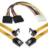 Poppstar 2X 0,5m Lange SATA 3 Kabel mit jeweils 1x Clip-Stecker Gerade zu 1x 90 Grad Winkelstecker/inkl. 4-Pin-Stromadapter/Übertragungsrate von bis zu 6 GBit/s / abwärtskompatibel