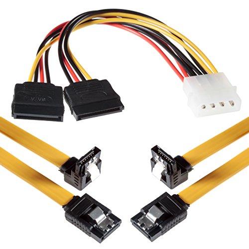 Ide Übertragungsrate (Poppstar 2X 0,5m Lange SATA 3 Kabel mit jeweils 1x Clip-Stecker Gerade zu 1x 90 Grad Winkelstecker/inkl. 4-Pin-Stromadapter/Übertragungsrate von bis zu 6 GBit/s / abwärtskompatibel)