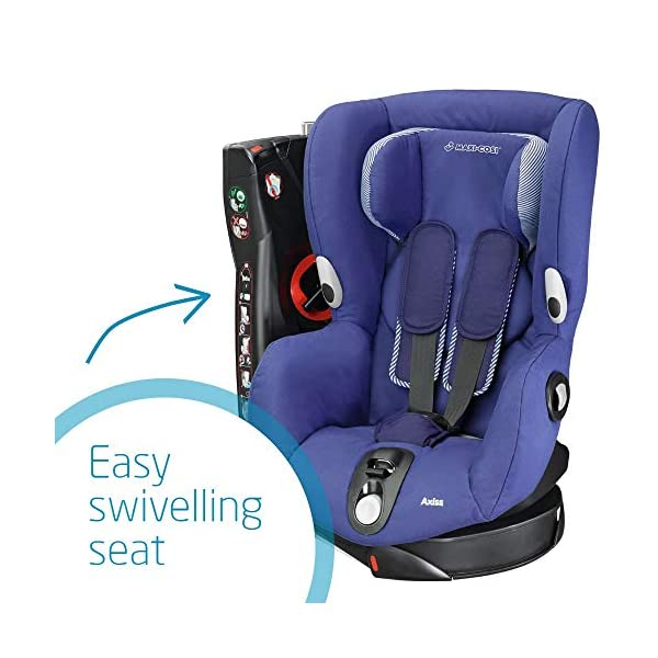 Maxi-Cosi Axiss Swiveling Toddler Car Seat, Extra Secure Fit, Reclining, 9 Months-4 Years, 9-18 kg, River Blue Maxi-Cosi Toddler car seat, suitable from 9 months to 4 years (9-18 kg) Swivels 90 degrees allows for front-on access to get your toddler in and out of the car more easily Maxi-Cosi Axiss car seat has eight comfortable recline positions 4