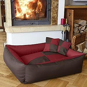 BedDog MAX QUATTRO 2en1, rouge/brun, XL env. 100x85 cm,Panier corbeille, lit pour chien, coussin de chien