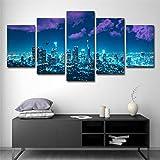 DOORWD Wandbilder Home Dekorativ Modern 5-teilig Großplakat Leinwanddruck Blaue Sternenstadt 30x40cmx2 30x60cmx2 30x80cmx1 Kein Rahmen