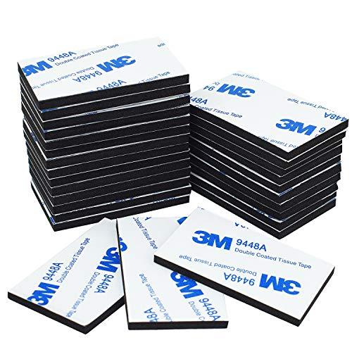 Doppelseitiges Klebeband - Aus Schaumstoff, 40 Stück, schwarz, starkes Klebeband, 50 x 30 mm -
