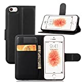 Coque pour iPhone SE 5SE 5 5S, FugouSell PU Cuir Etui Clapet Housse Portefeuille avec Support, Emplacements pour Carte & Fermeture Aimantée - Noir