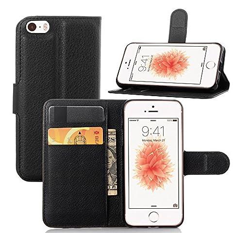 Coque pour iPhone SE 5SE 5 5S, Moonmini PU Cuir Etui Clapet Housse Portefeuille avec Support, Emplacements pour Carte & Fermeture Aimantée -
