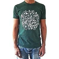 Camiseta de hombre Bicicletas - Color Verde botella Heather - Talla XL - Tacto Suave - Regalo para hombre - Cumpleanos o Navidad