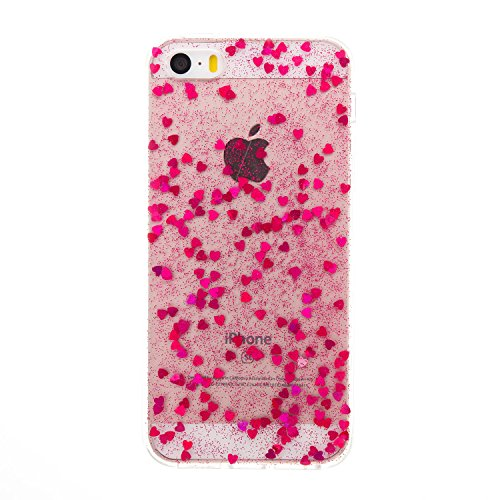 iPhone 5S/SE Miroir Cover Case,iPhone 5S/SE Case Glitter,Hpory Beau élégant Luxury Ultra Thin Soft TPU Gel Silicone Cristal Clair Bling Brillant Miroir Placage Ours Bling Glitter Ring Stand Holder Etu Loveheart,Rose rouge