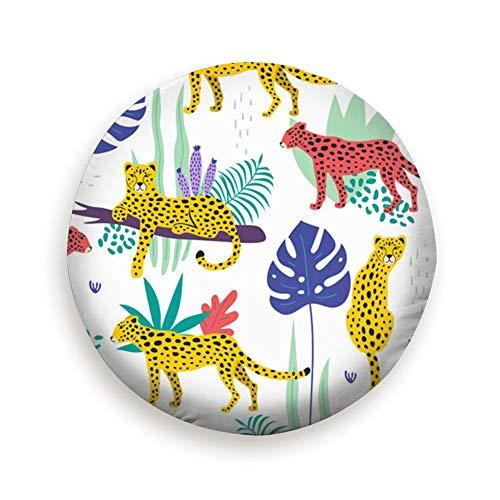 Leoparden Tropische Blätter Afrikanische Reifenabdeckung Camping Trinkwasser Polyester Universal Reserveradabdeckungen für Anhänger RV SUV Lkw Camper Reiseanhänger Zubehör (14,15,16,17 Zoll) 16 zoll -