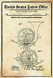 ComCard US Patentes–Design For A Brass Instrumento Musical–Bosquejo para un latón Instrumento Musical–Rossi–1914–Diseño No 1.100199–cartel de chapa, metal Sign, Tin