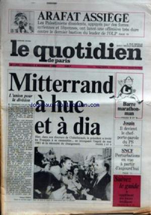 QUOTIDIEN DE PARIS (LE) [No 1227] du 04/11/1983 - ARAFAT ASSIEGE - MITTERRAND A HUE ET A DIA - BARRE MARATHONMAN - JOSPIN - SNCF - GREVES.