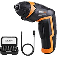Cordless Screwdriver, Tacklife SDP50DC Rechargeable Mini Screwdriver, 2.0Ah Li-ion Battery with Battery Indicator, 31 Accessories, max Torque: 4 Nm, for Mounting Furniture Such as Shelves and Mini-Blinds