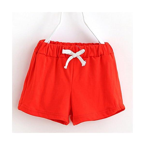 Covermason Bebé Unisex Niños Niña Moda Algodón Ocio Pantalones Cortos (2Años, Rojo) 2