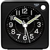 U-needQ Mini Travel Analog Alarm Clock, Non-Ticking - Battery Operated, Quartz Clock with 5 min Snooze - Loud Ascending Sound - Alarm Clocks with Night Light for Traveling, Backpacking, and Camping (Black - Round Dial)