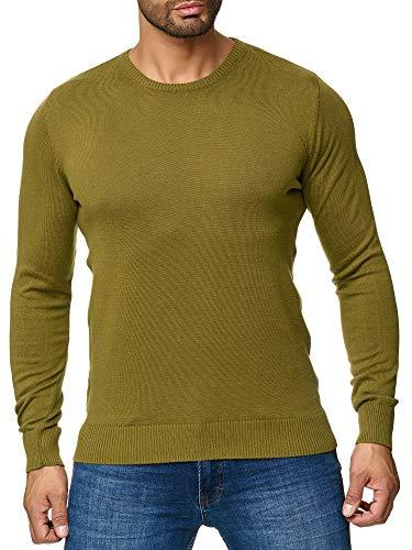 BARBONS Herren Pullover mit Rundhals - Slim-Fit - Hochwertige Baumwollmischung - Feinstrick-Pullover - Khaki L