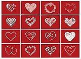16 Postkarten LIEBE mit roten Herzen mit Umschlag / als Geschenk / Deko / Postkarte / Valentinstag / Hochzeit / Liebesbrief / Heiratsantrag / Geburtstag / Dankeskarte /