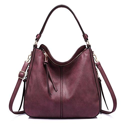 Handtaschen Damen Lederimitat Umhängetasche Designer Taschen Hobo Taschen groß Mit Quasten Rot (Rot-damen-umhängetasche)