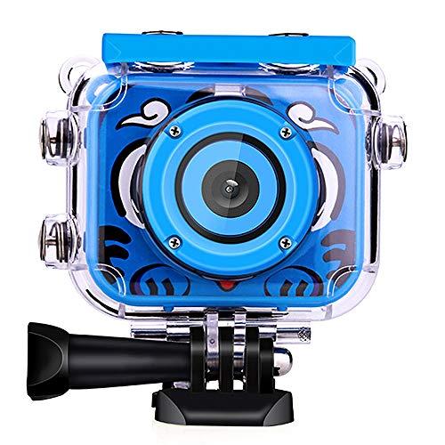 POSIVEEK Kinder Kamera HD Wiederaufladbar Digital Kinder Camcorder Unterwasser Action Cam Wasserdicht 30Meter Neujahr Geburtstag Spielzeug Geschenk für Kinder Jungs Mädchen mit 2.0 LCD Bildschirm-Blau
