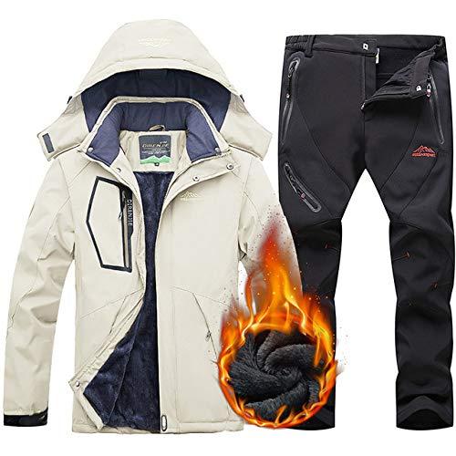 AXIANNV Tuta da Sci per Uomo Calore Antivento Impermeabile Giacca da Sci Pantaloni Abbigliamento da Neve Tute da Sci e Snowboard Invernali,NeroAvorio, 5XL