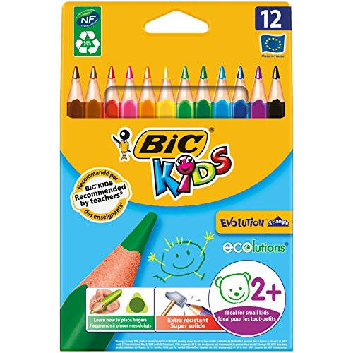 BIC Kids Evolution Ecolutions - Blíster de 12 lápices triangulares de colores para aprendizaje