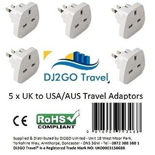DJ2GO TRAVEL 13125 High Quality USA/Canada/Australia Travel Adapter plugs, International travel adaptors - Bulk buy Travel Plus, White, 5 pack