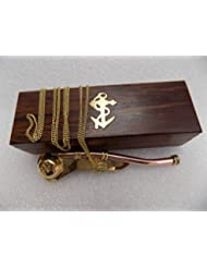 Ares India 5 Brass Copper Boatswain Whistle With Chain Wooden Box Bosun Call Pipe Maritime by Ares India