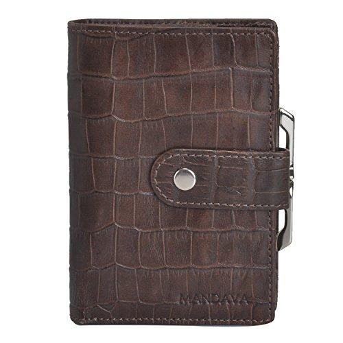 Mandava 100% genuine leather brown croco printed ladies wallet
