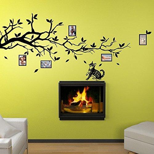 grandora-w5116-adesivo-murale-ramo-con-il-gatto-e-cornici-larghezza-x-latezza-180-x-58-cm-grigio-med