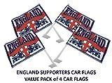 England St. George Cross 2Löwen Hand winkt/Kfz Flagge combunied (entweder oder beide). Englisch Supporters Hand oder Auto Flaggen–Value Pack 4Hand/Auto Flaggen.