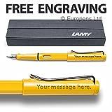 Lamy Safari Yellow pluma estilográfica (punta mediana)-en caja de regalo-grabado gratis
