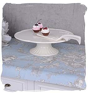 kuchenplatte mit fuss servierplatte shabby chic tortenplatte weiss palazzo exklusiv. Black Bedroom Furniture Sets. Home Design Ideas