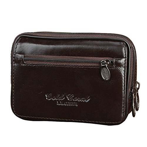Genda 2Archer Piccola Pelletteria Doppia zip Belt Bag Custodia da Viaggio (Marrone(BLD3109-BR))