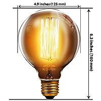 Multi-Buy Discounts Trellonics Long-Life Premium Edison Light Bulb Lamps 40W Watt E27 ES Edison Screw base Squirrel Cage Filament Big Oversized Globe Shaped G125 CSC Dimmable Vintage, Rustic, Industrial Lighting from Trellonics®