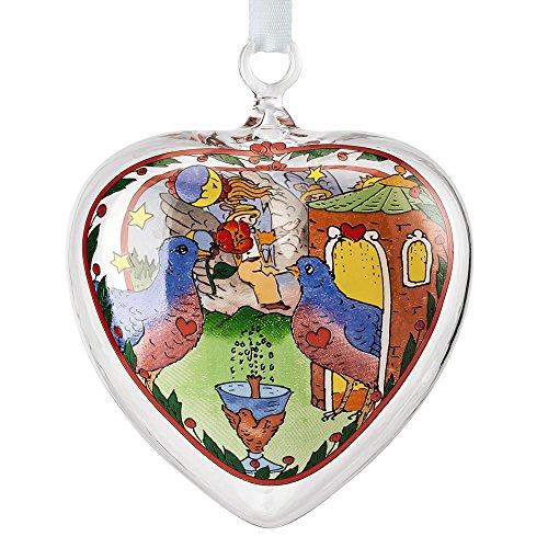 Hutschenreuther 02257-724146-49695 Glas-Herz 2016 Taubenschlag im Geschenkkarton, 6,5 cm