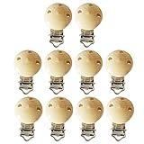 10pcs Nette runde natürliche hölzerne Baby-Säuglingsnippel-Friedensstifter-Klipp-Halter mit 3 Löchern