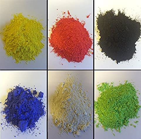 6 X 250GM Powder Paint Refill / BLACK - WHITE - RED - BLUE - YELLOW - GREEN