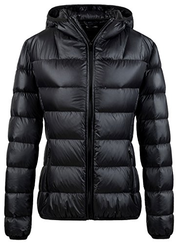 Wantdo Damen Packable Ultra Light Weight gesteppte Daunenjacke mit Kapuze Schwarz Small (Gesteppte Schwarze Daunenjacke)