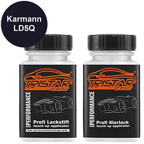 Preisvergleich Produktbild Autolack Lackstift Set Karmann LD5Q Shadow Blue Metallic / Shadowblau Metallic Basislack Klarlack je 50ml