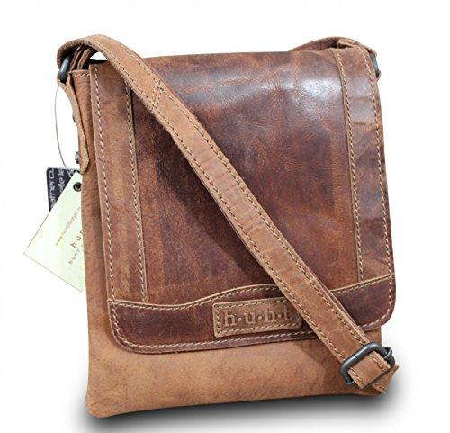 HUNT iPad sac à main cross body bag sac bandoulière vintage marron cuir de buffle haute qualité