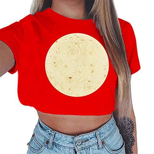 Kviklo Damen T-Shirt Oberteile Krawatte Schleife Rüschen Flügelärmel Gestreift Druck Patchwork Bluse Shirt(XL(42),Rot)