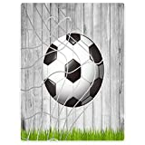 YISUMEI Decke 125x200 cm Kuscheldecken Sanft Flanell Weich Fleecedecke Bettüberwurf Fußball Holz Gras Fußballnetz