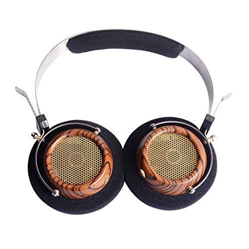 OKCSC M2 - Auriculares de diadema abiertos con cable de voz, 57 mm altavoz estilo vintage,auriculares de madera de olivo micrófono HD integrado con 5 N OCC chapado en plata cable