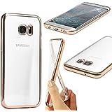 URCOVER® Housse Placage Rebord Miroir | Samsung Galaxy S7 Edge | Silicone TPU rose fuchsia | Coque Étui de Protection Souple Back Cover Case Chanel Absorption des Chocs 3D cristal sctillant