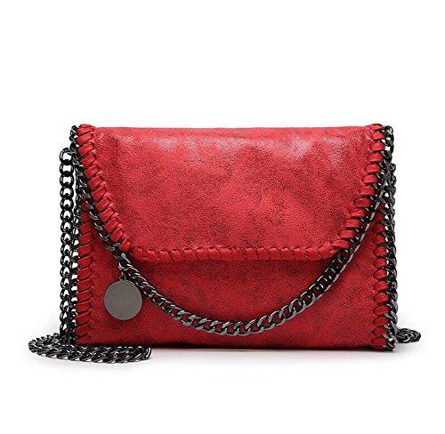 Angleliu Damen PU lässigen Kette Handtasche Modisch Schultertaschen Glitzer Beuteltasche (Kleiner roter Stil)