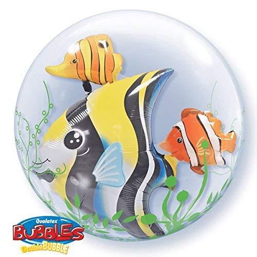 Qualatex Algen Tropischer Fisch 24 Zoll Doppel Blasen Ballon -