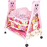 Flipzon High Quality Foldable Baby Kick And Play Crib Cum Palna And Stroller With Wheel With Mosquito Net And Storage Space (J11) - Pink